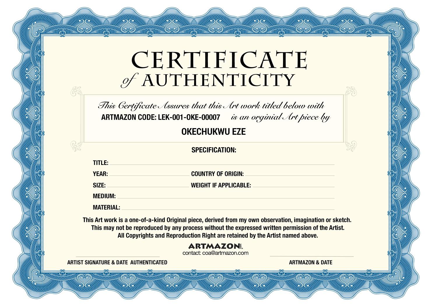 COA (Certificate of Authenticity)