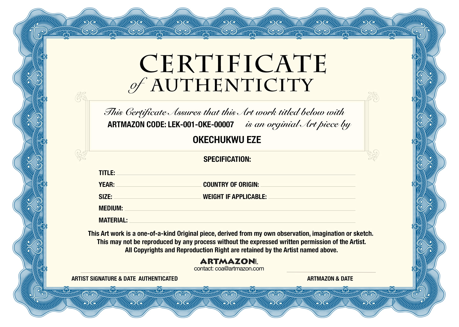 Coa certificate of authenticity for Certificate of authenticity autograph template